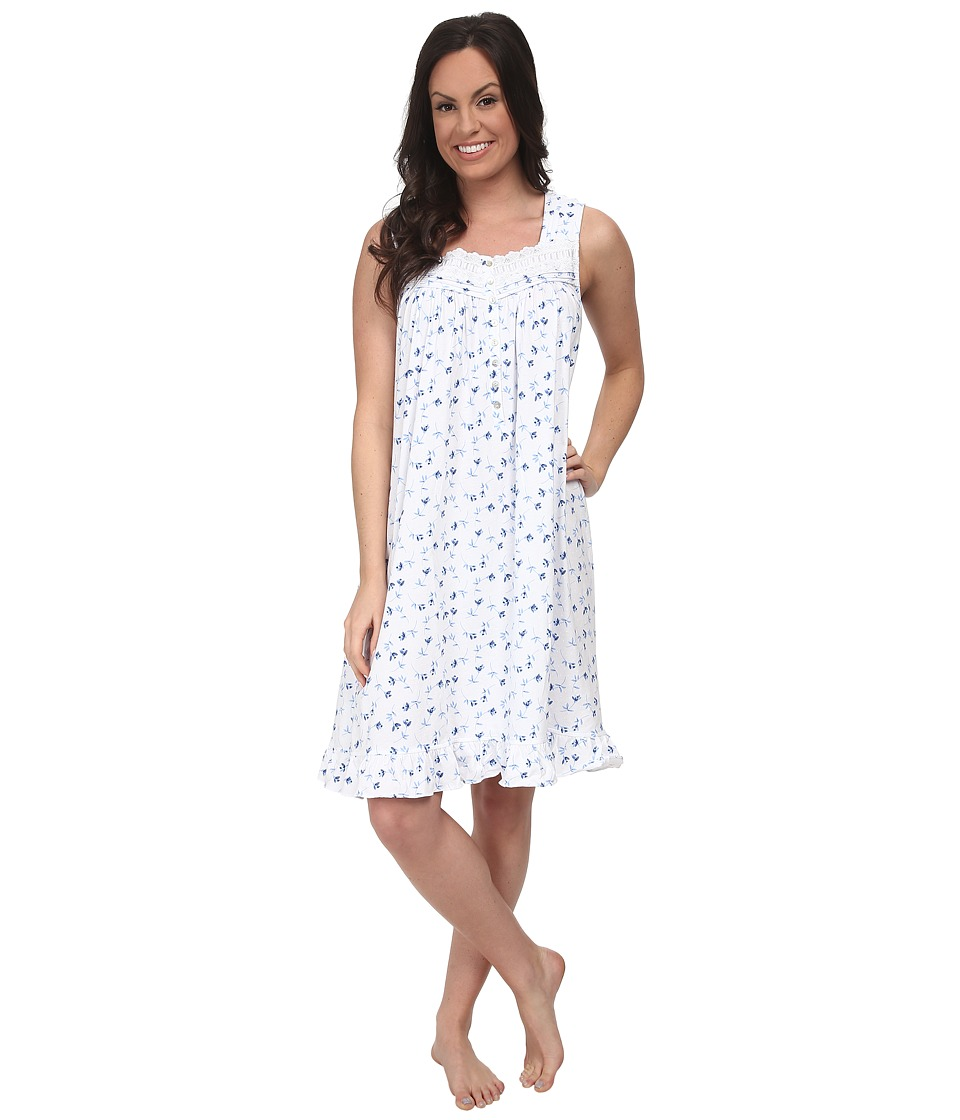 Eileen West - Seaside Short Gown (White/Blue Print) Women's Pajama