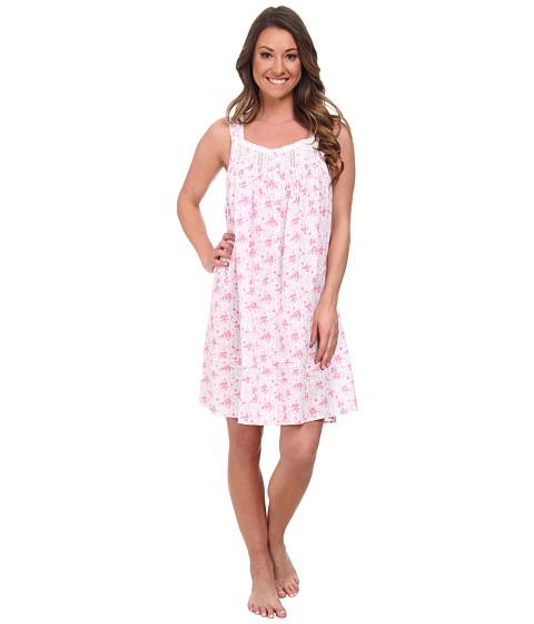 Eileen West - Muir Beach Bliss Short Gown (White Ground Pink Multi) Women's Pajama