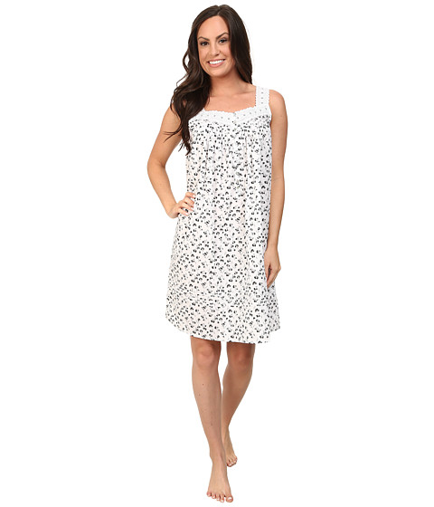 Eileen West - Vibrant Spirit Short Gown (White Ground Black Floral) Women's Pajama