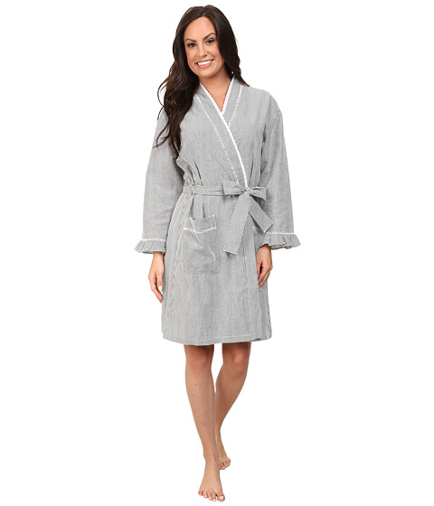 Eileen West - Vibrant Spirit Short Wrap Robe (Black/White Seersucker) Women's Robe