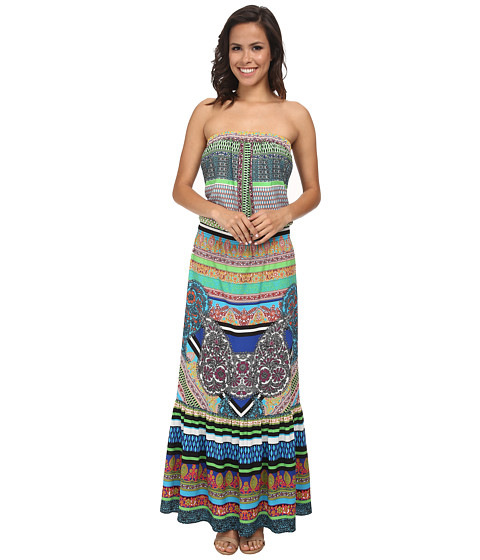 Hale Bob - Soft In The City Tube Top Maxi Dress (Teal) Women