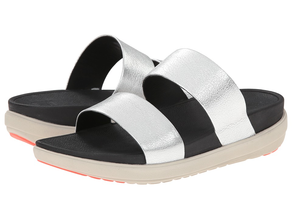 FitFlop - Loosh Slide Leather (Silver) Women's Sandals