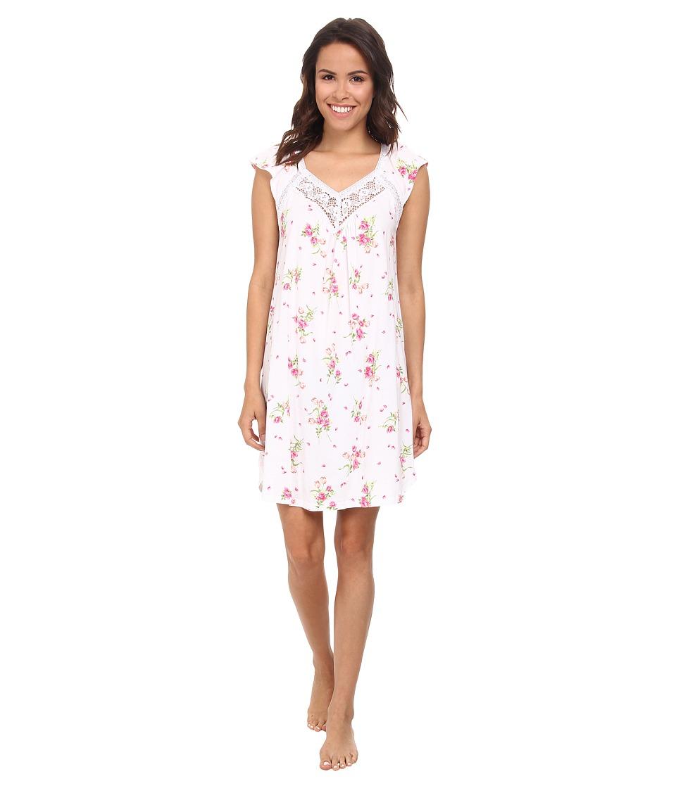 Carole Hochman - Floral Print Short Gown (Flowering Bouquets White) Women's Pajama