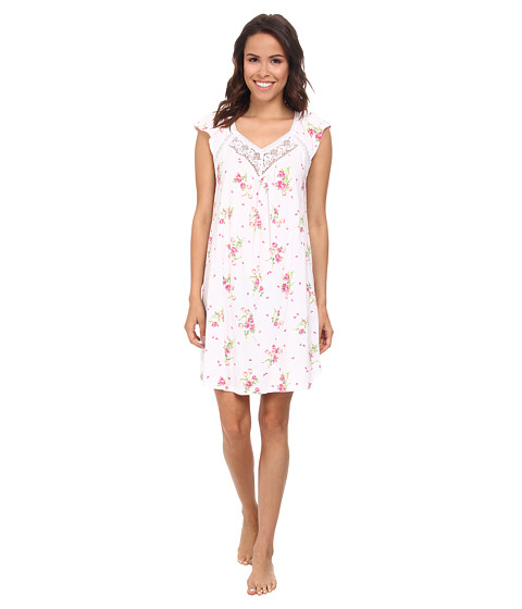 Carole Hochman - Floral Print Short Gown (Flowering Bouquets White) Women