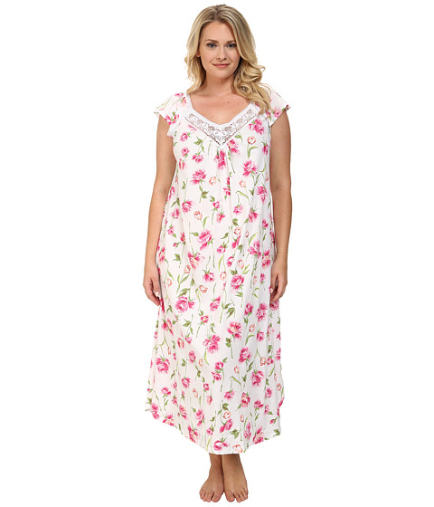 Carole Hochman - Plus Size Floral Print Long Gown (Spring Awakening White) Women's Pajama