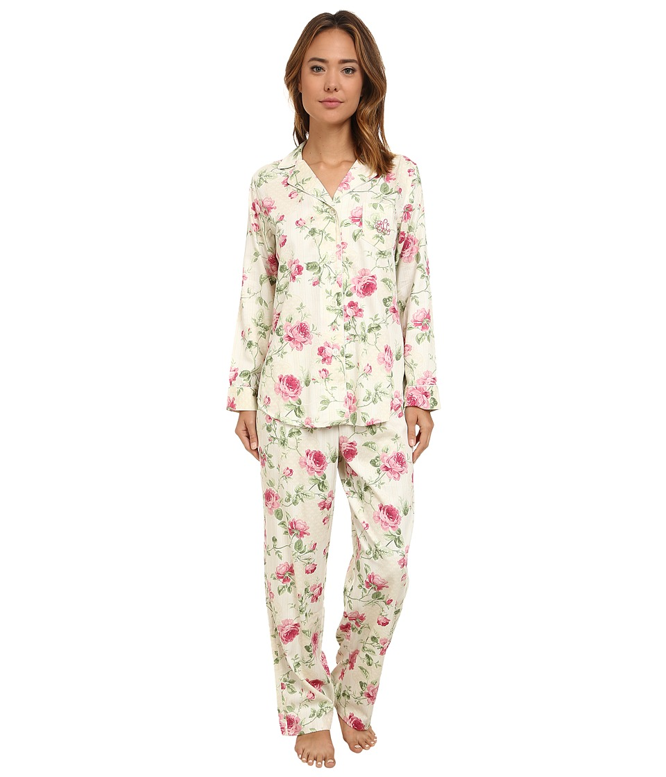 LAUREN by Ralph Lauren - Long Sleeve Notch Collar Pajama (Carisle Floral Cream Multi) Women