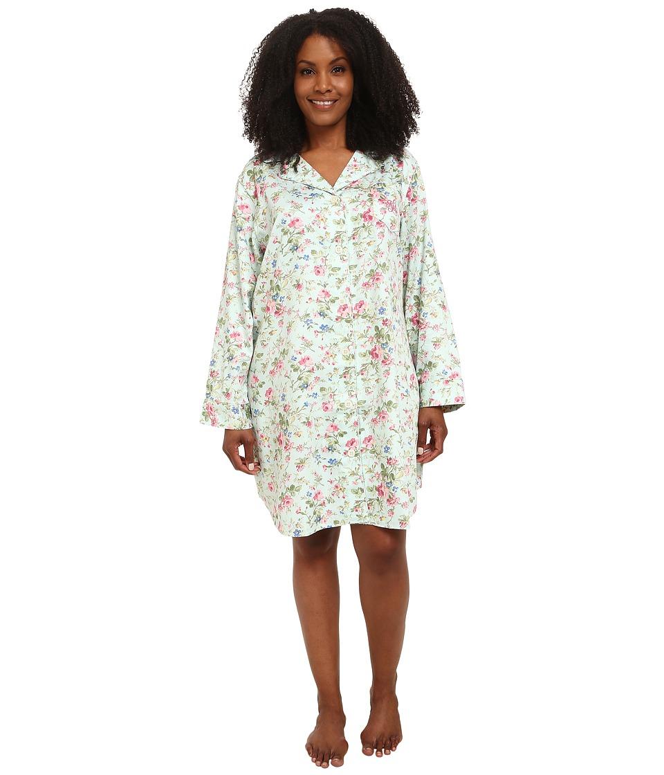 LAUREN by Ralph Lauren - Plus Size Long Sleeve Notch Collar Sleepshirt (Suffolk Floral Turquoise Multi) Women