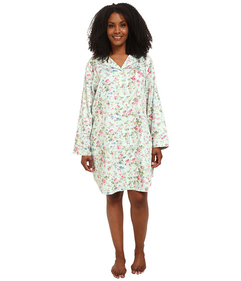 LAUREN by Ralph Lauren - Plus Size Long Sleeve Notch Collar Sleepshirt (Suffolk Floral Turquoise Multi) Women's Pajama