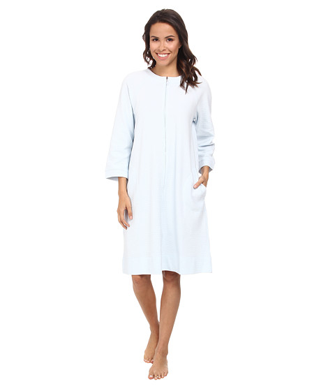 Carole Hochman - Waffle Knit Short Zip Robe (Lake Blue) Women