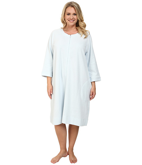 Carole Hochman - Plus Size Waffle Knit Short Zip Robe (Lake Blue) Women