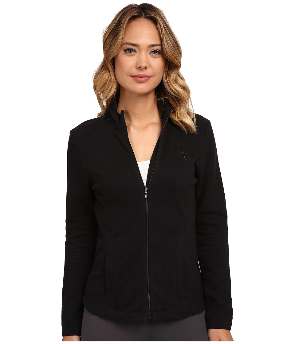 LAUREN Ralph Lauren - Zip Front Lounge Jacket (Black) Women's Pajama