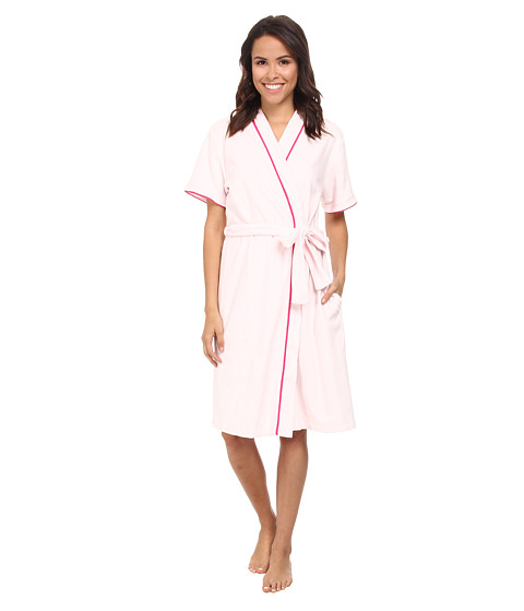 Carole Hochman - Baby Terry Short Sleeved Robe (Pink Ice/Spring Collage) Women