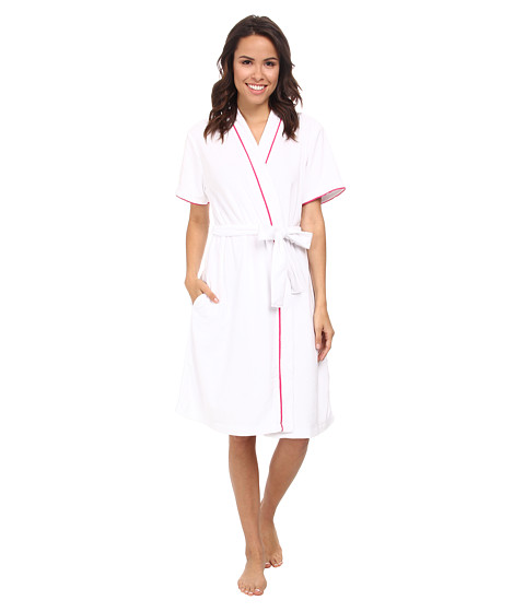 Carole Hochman - Baby Terry Short Sleeved Robe (White/Picket Stripe) Women