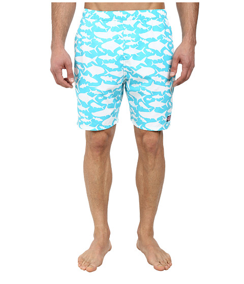 Vineyard Vines - School of Fish Chappy (Turquoise) Men's Swimwear