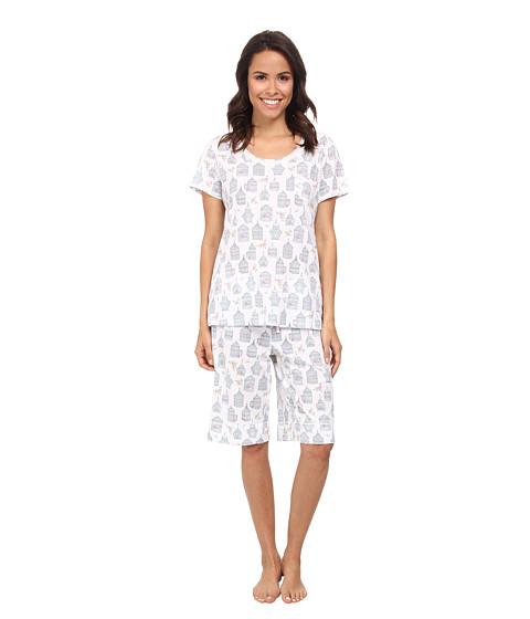 Carole Hochman - Novelty Print Bermuda Pajama Set (Antique Birdcages White) Women