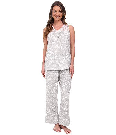 Carole Hochman - Capris Pajama w/ Stretch Lace (Garden Fern Grey) Women's Pajama Sets