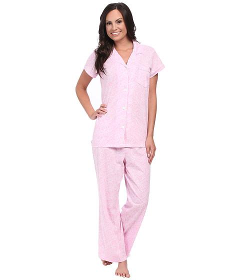 Carole Hochman - Printed Notch Collar Short Sleeved Pajama Set (Spring Vines Pink) Women's Pajama Sets