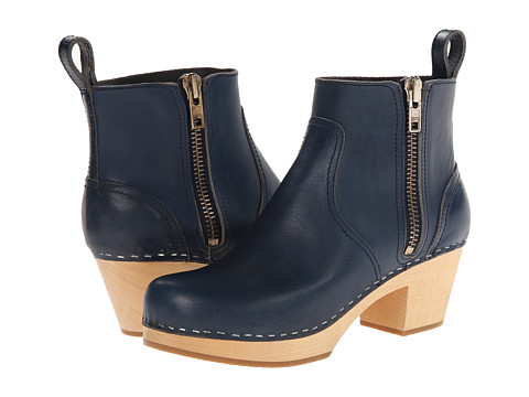 Swedish Hasbeens - Zip It Emy (Dark Blue) Women's Zip Boots