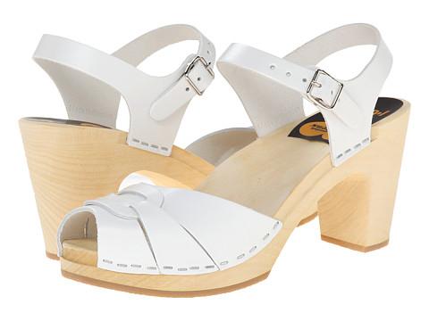 Swedish Hasbeens - Peep Toe Super High (White) Women's Sandals