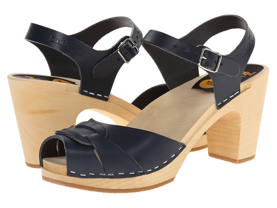 Swedish Hasbeens - Peep Toe Super High (Dark Blue) Women's Sandals