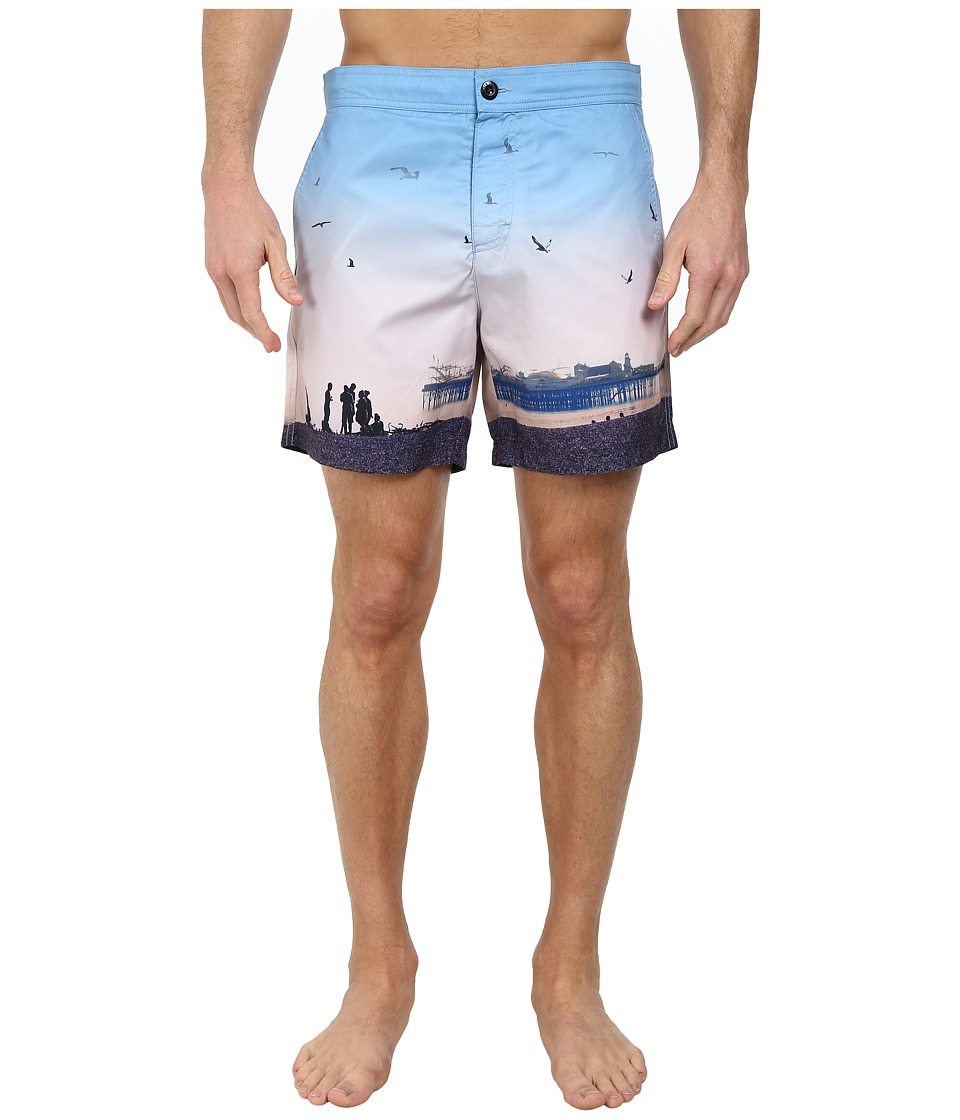 Ben Sherman - Brighton Pier Print Swim Shorts MG11430 (Washed Blue) Men's Swimwear
