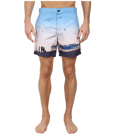 Ben Sherman - Brighton Pier Print Swim Shorts MG11430 (Washed Blue) Men's Swimwear