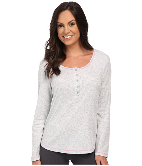 Jockey - Long Sleeve Henley Top (Heather Grey) Women