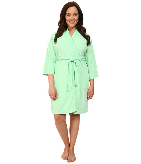 Jockey - Plus Size Vintage Terry Robe (Spring Green) Women