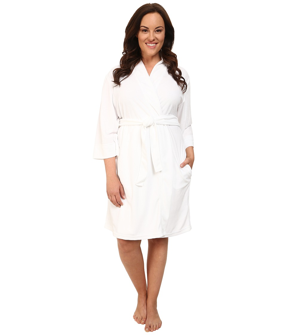Jockey - Plus Size Vintage Terry Robe (White) Women's Robe