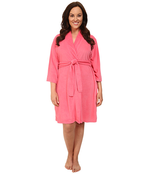 Jockey - Plus Size Vintage Terry Robe (Pink Burst) Women