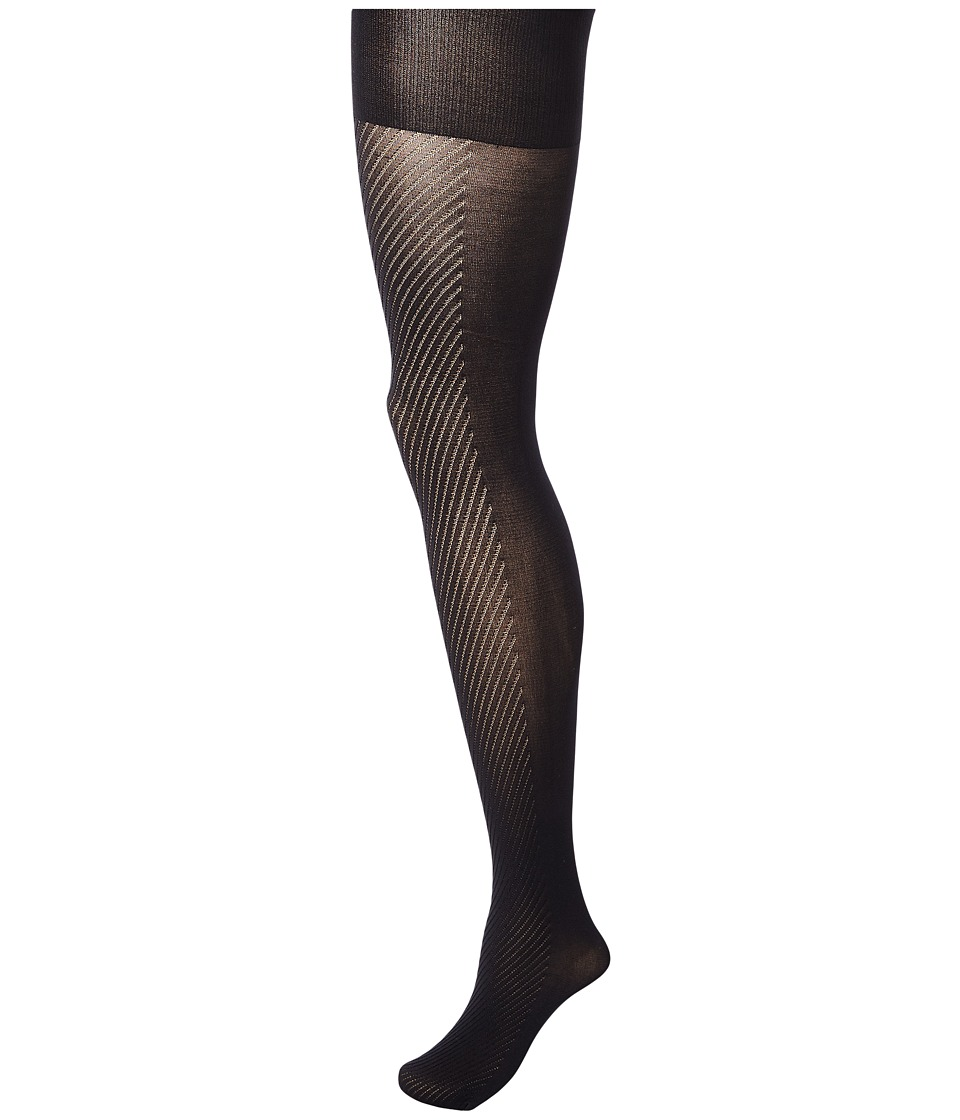 Spanx - Diagonal Contrast Shaping Tights (Black) Hose