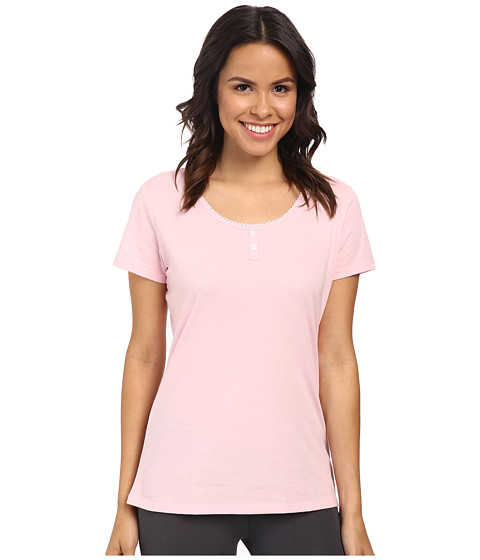 Jockey - Short Sleeve Henley Top (Candy Pink) Women's Pajama