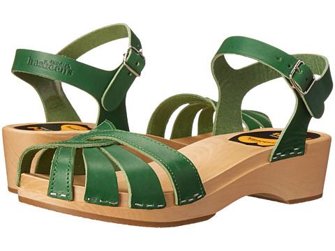 Swedish Hasbeens - Cross Strap Debutant (Strong Green) Women's Sandals