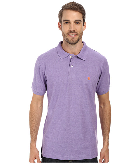 U.S. POLO ASSN. - Solid Cotton Pique Polo with Small Pony (Tie Purple Heather/Flame Orange) Men's Short Sleeve Knit