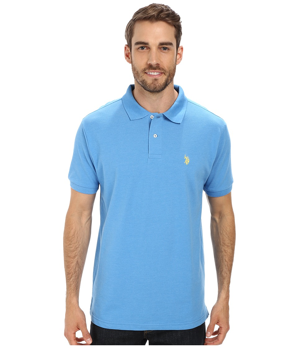 U.S. POLO ASSN. - Solid Cotton Pique Polo with Small Pony (Caribbean Blue Heather) Men's Short Sleeve Knit