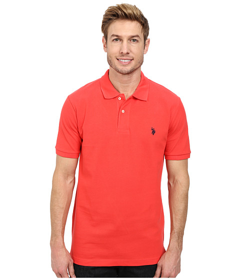 U.S. POLO ASSN. - Solid Cotton Pique Polo with Small Pony (Barberry/Classic Navy) Men