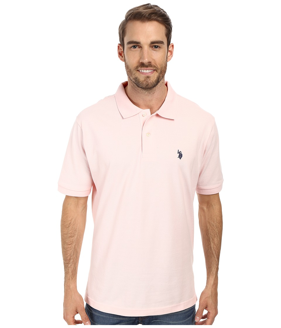 U.S. POLO ASSN. - Solid Cotton Pique Polo with Small Pony (Coastal Pink) Men's Short Sleeve Knit