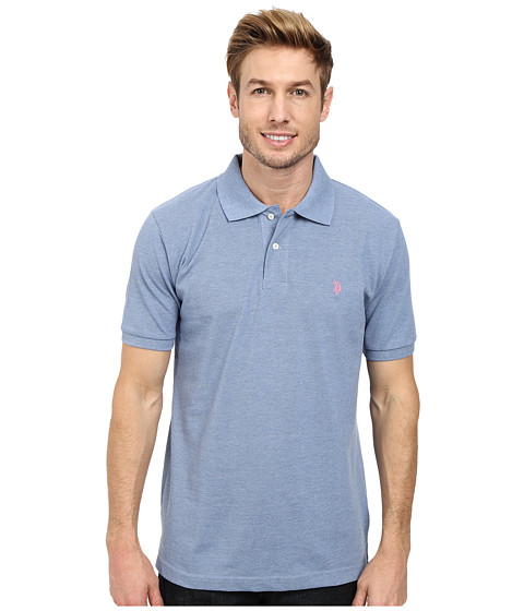U.S. POLO ASSN. - Solid Cotton Pique Polo with Small Pony (Riviera Heather/Connecticut Pink) Men