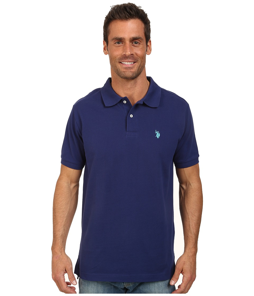 U.S. POLO ASSN. - Solid Cotton Pique Polo with Small Pony (Dodger Blue) Men's Short Sleeve Knit