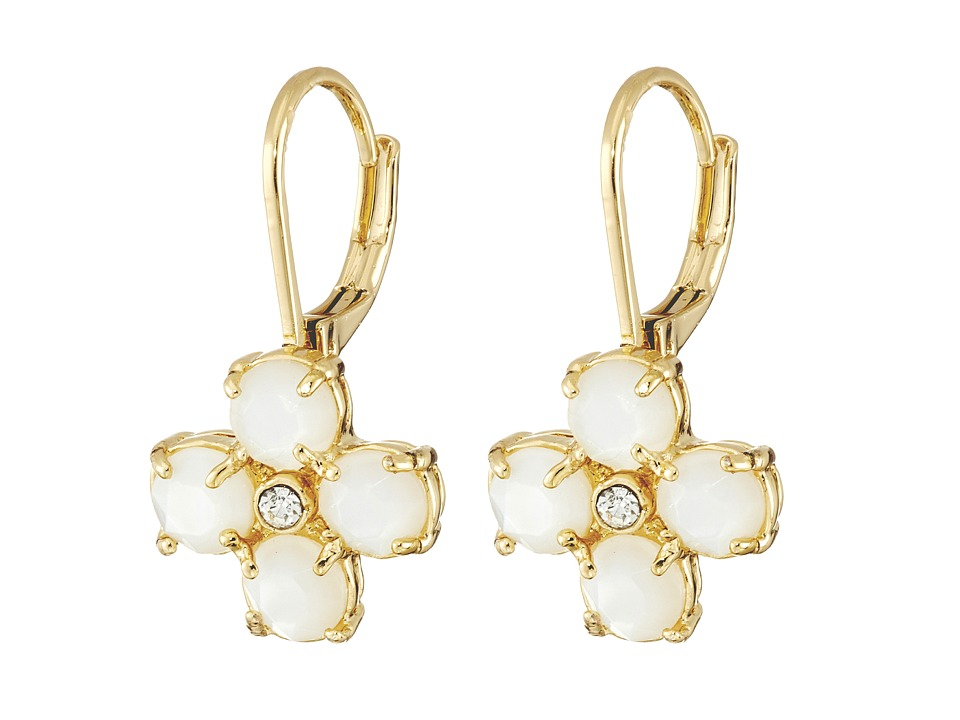 Kate Spade New York - Central Park Pansy Leverback Earrings (Cream/Clear) Earring