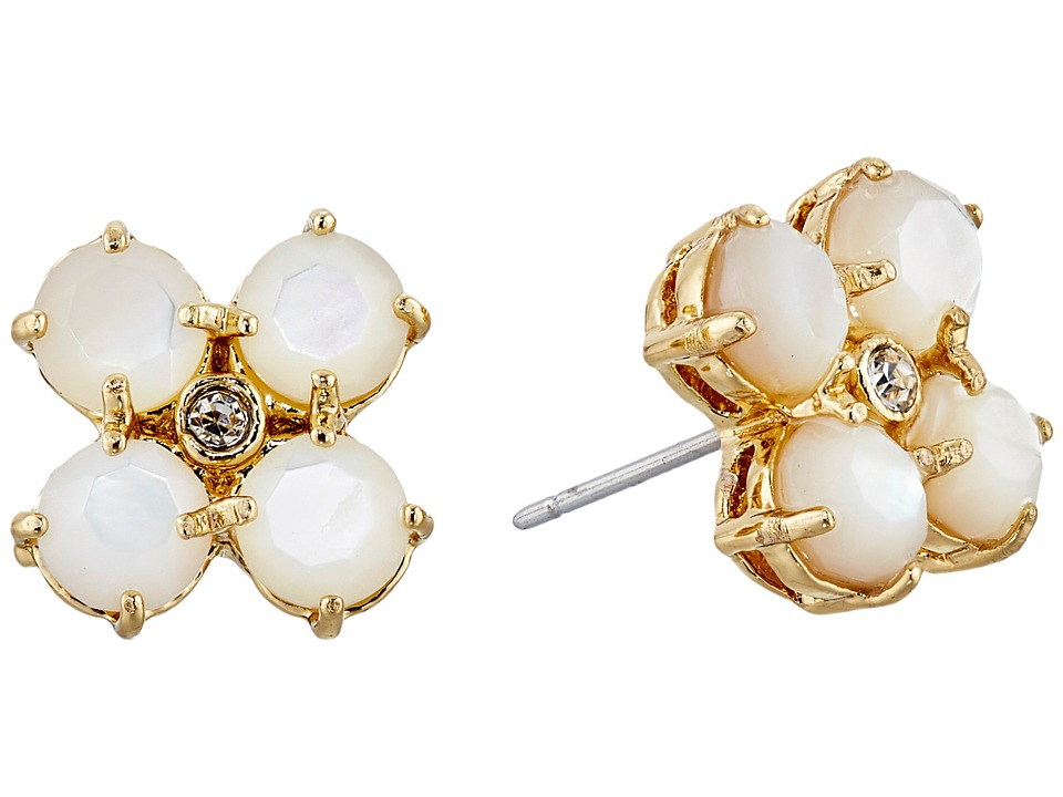 Kate Spade New York - Central Park Pansy Studs Earrings (Cream/Clear) Earring