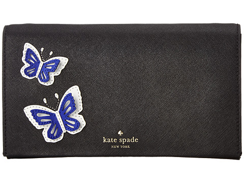 Kate Spade New York - Wing It Butterfly Applique Cali (Black Multi) Clutch Handbags