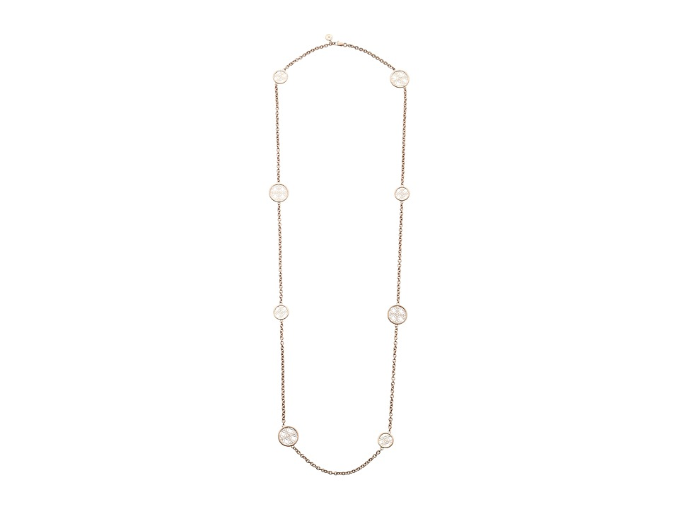 Michael Kors - Monogram Disc Station Necklace (Rose Gold) Necklace