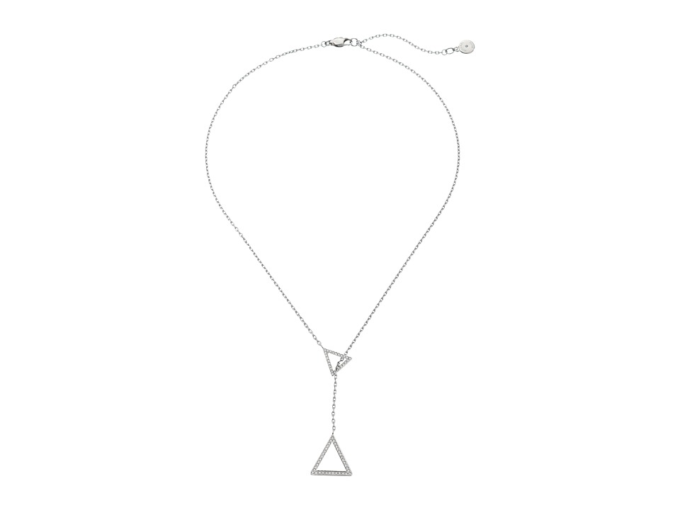 Michael Kors - Pave Triangle Lariat Necklace (Silver) Necklace