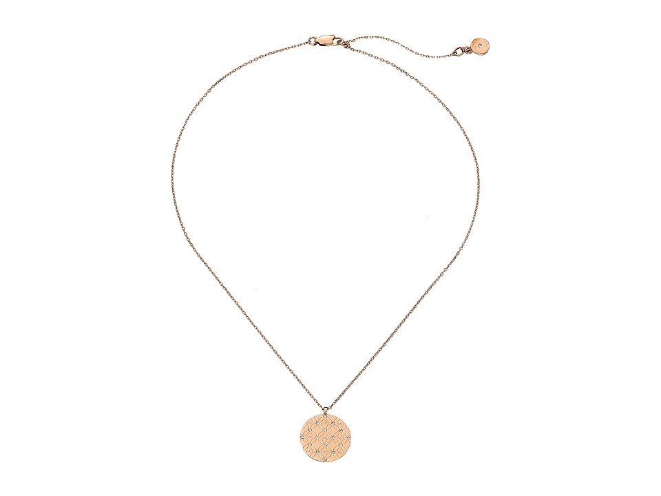 Michael Kors - Etched Monogram Disc Pendant Necklace (Rose Gold) Necklace