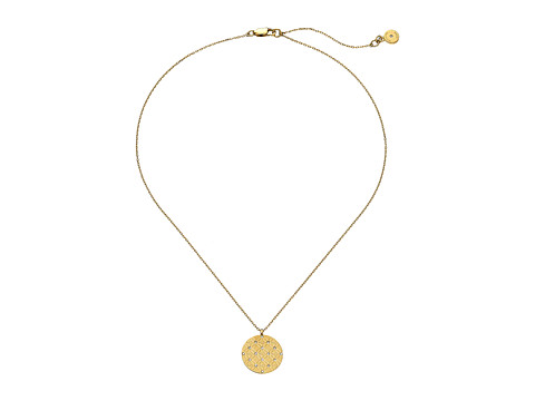 Michael Kors - Etched Monogram Disc Pendant Necklace (Gold) Necklace