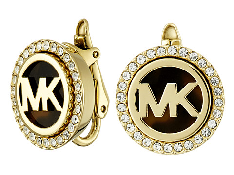 Michael Kors - Monogram Stud Clip On Earrings (Gold) Earring