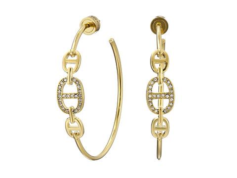 Michael Kors - Graduated 3 Link Hoop Earrings (Gold) Earring