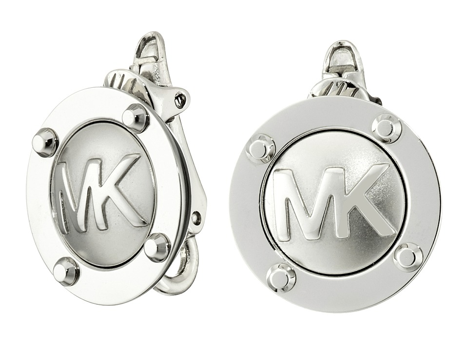 Michael Kors - Logo Button Stud Clip On Earrings (Silver) Earring