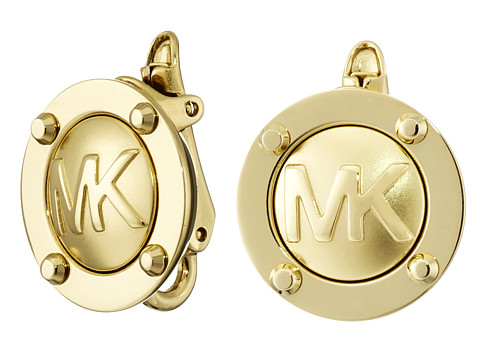 Michael Kors - Logo Button Stud Clip On Earrings (Gold) Earring